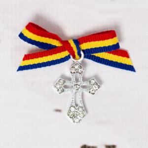 Cruciulite botez elegante cu fundita tricolor