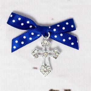 Cruciulite botez elegante cu fundita albastra si buline