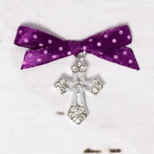 Cruciulite botez elegante cu fundita mov cu buline