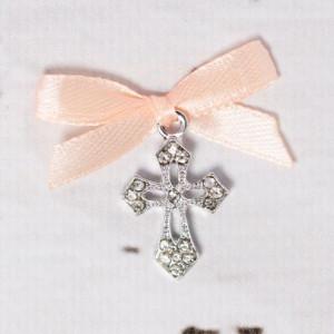 Cruciulite botez elegante cu fundita somon