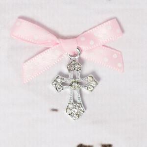 Cruciulite botez elegante cu fundita roz cu buline