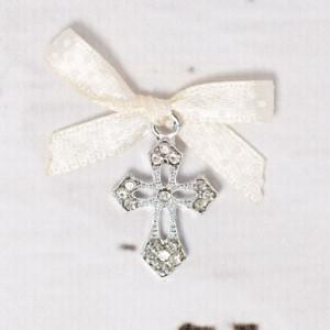 Cruciulite botez elegante cu fundita ivory cu buline