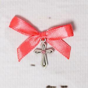 Cruciulite botez cu pietricica roz si fundita corai