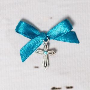 Cruciulite botez cu pietricica bleu si fundita turcoaz