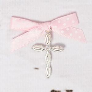 Cruciulite lacrima botez cu fundita roz cu buline