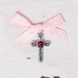 Cruciulite botez strass rosu si fundita roz cu buline