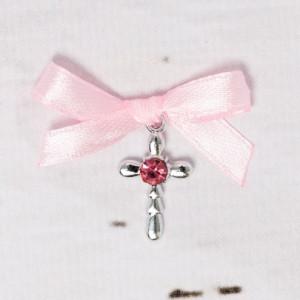 Cruciulite botez strass si fundita roz