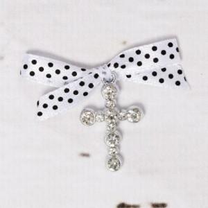 Cruciulite botez strassuri transparente si fundita alba cu buline negre