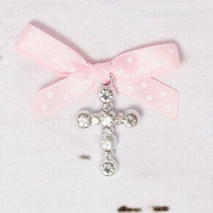 Cruciulite botez strassuri transparente si fundita roz cu buline