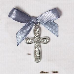 Cruciulite botez cu strassuri transparente si fundita gri