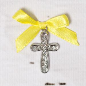 Cruciulite botez cu strassuri transparente si fundita galbena