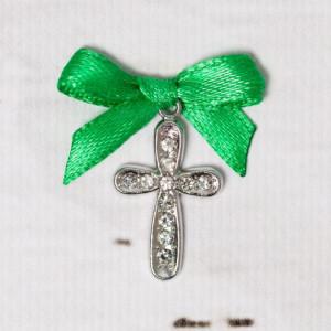 Cruciulite botez cu strassuri transparente si fundita verde