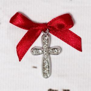 Cruciulite botez cu strassuri transparente si fundita rosie