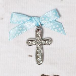 Cruciulite botez cu strassuri transparente si fundita bleu cu buline albe