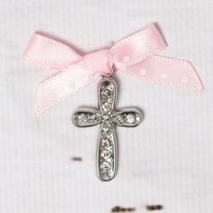 Cruciulite botez cu strassuri transparente si fundita roz cu buline