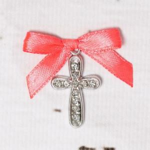 Cruciulite botez cu strassuri transparente si fundita corai