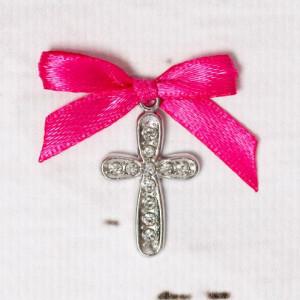 Cruciulite botez cu strassuri transparente si fundita roz fucsia
