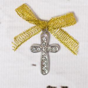 Cruciulite botez cu strassuri transparente si fundita aurie