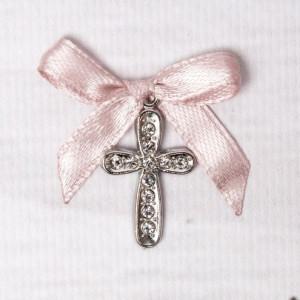 Cruciulite botez cu strassuri transparente si fundita roz pudra