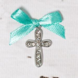 Cruciulite botez cu strassuri transparente si fundita verde menta