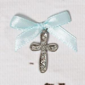 Cruciulite botez cu strassuri transparente si fundita bleu