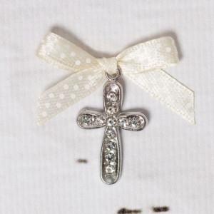 Cruciulite botez cu strassuri transparente si fundita ivory cu buline