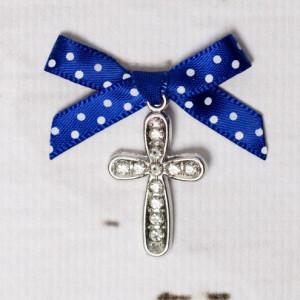 Cruciulite botez cu strassuri transparente si fundita albastra cu buline albe