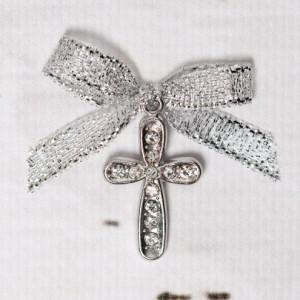 Cruciulite botez cu strassuri transparente si fundita argintie