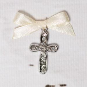 Cruciulite botez cu strassuri transparente si fundita ivory