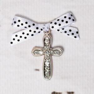 Cruciulite botez cu strassuri transparente si fundita alba cu buline