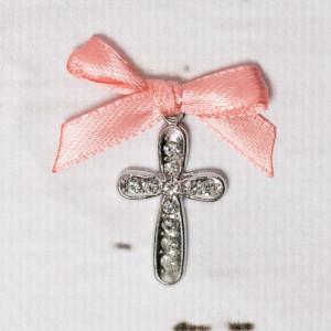 Cruciulite botez cu strassuri transparente si fundita piersica
