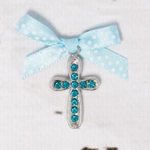 Cruciulite botez cu strassuri bleu si fundita bleu cu buline