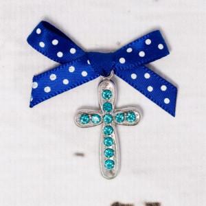 Cruciulite botez cu strassuri bleu si fundita albastra cu buline