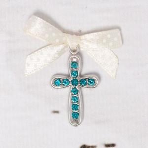 Cruciulite botez cu strassuri bleu si fundita ivory cu buline