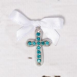 Cruciulite botez cu strassuri bleu si fundita alba