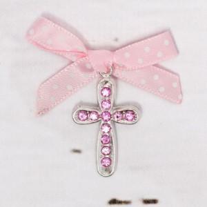 Cruciulite botez cu strassuri roz si fundita roz cu buline albe