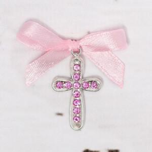 Cruciulite botez cu strassuri si fundita roz