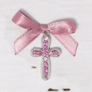 Cruciulite botez cu strassuri roz si fundita roz prafuit