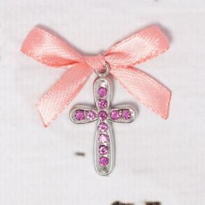 Cruciulite botez cu strassuri roz si fundita piersica