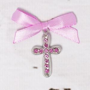 Cruciulite botez cu strassuri roz si fundita lila