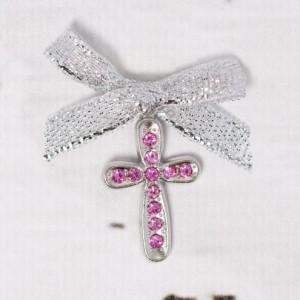 Cruciulite botez cu strassuri roz si fundita argintie