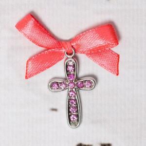 Cruciulite botez cu strassuri roz si fundita corai