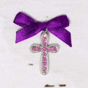 Cruciulite botez cu strassuri roz si fundita mov
