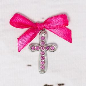 Cruciulite botez cu strassuri roz si fundita fucsia