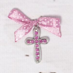 Cruciulite botez cu strassuri roz si fundita roz prafuit cu buline
