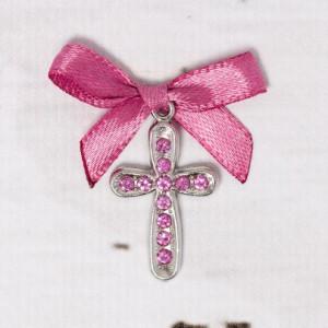 Cruciulite botez cu strassuri roz si fundita roz caramiziu