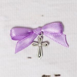 Cruciulite botez cu pietricica transparenta si fundita lila