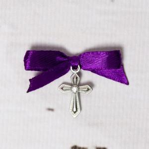 Cruciulite botez cu pietricica transparenta si fundita mov