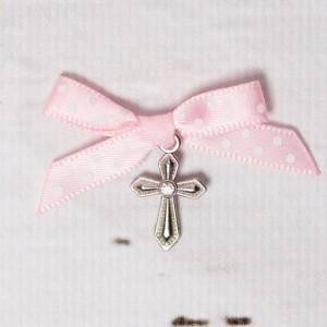 Cruciulite botez cu pietricica transparenta si fundita roz cu buline