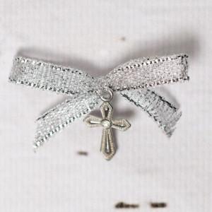 Cruciulite botez cu pietricica transparenta si fundita argintie